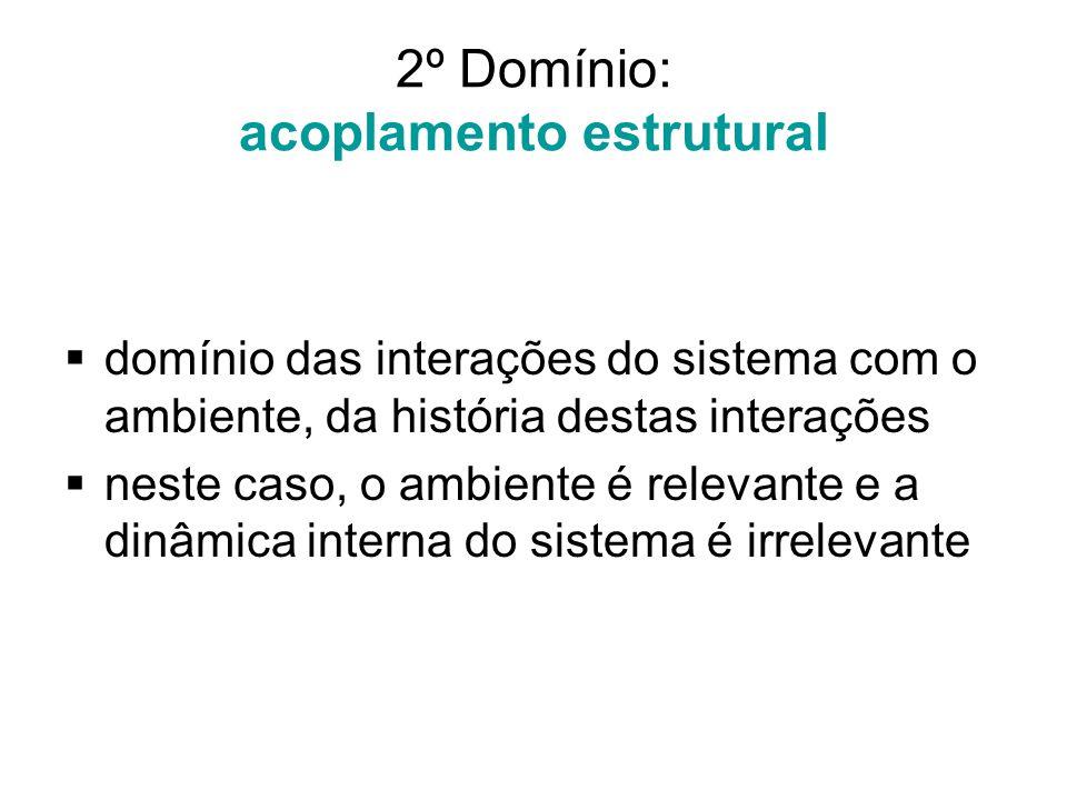 2º Domínio: acoplamento estrutural  domínio das interações do sistema com o ambiente, da história destas interações  neste caso, o ambiente é releva