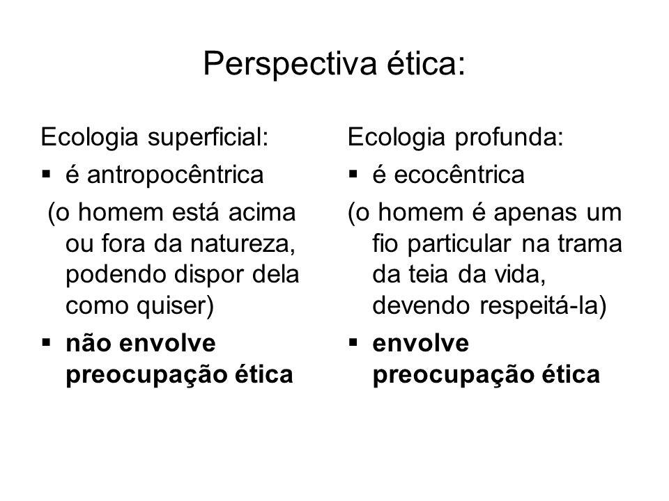 Perspectiva ética: Ecologia superficial:  é antropocêntrica (o homem está acima ou fora da natureza, podendo dispor dela como quiser)  não envolve p