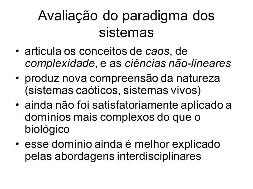 Avaliação do paradigma dos sistemas articula os conceitos de caos, de complexidade, e as ciências não-lineares produz nova compreensão da natureza (si