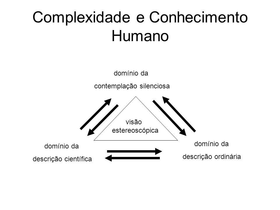 Complexidade e Conhecimento Humano visão estereoscópica domínio da contemplação silenciosa domínio da descrição científica domínio da descrição ordiná
