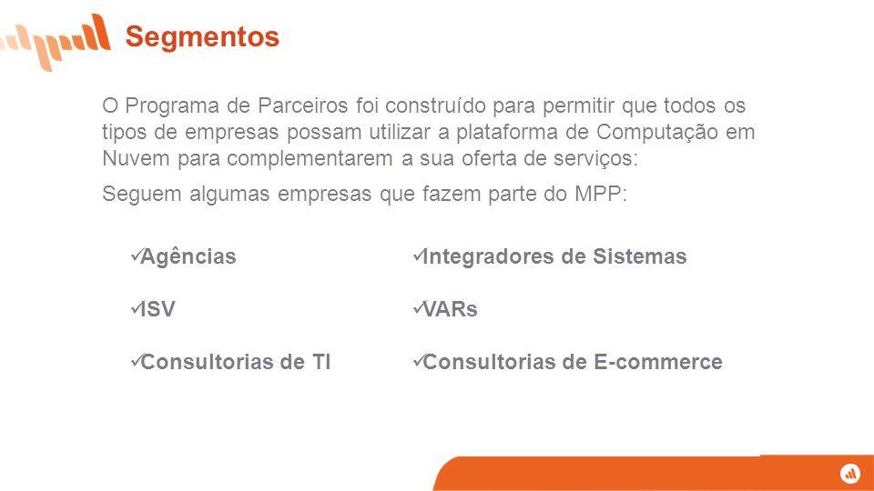 Segmentos O Programa de Parceiros foi construído para permitir que todos os tipos de empresas possam utilizar a plataforma de Computação em Nuvem para complementarem a sua oferta de serviços: Seguem algumas empresas que fazem parte do MPP: Agências ISV Consultorias de TI Integradores de Sistemas VARs Consultorias de E-commerce