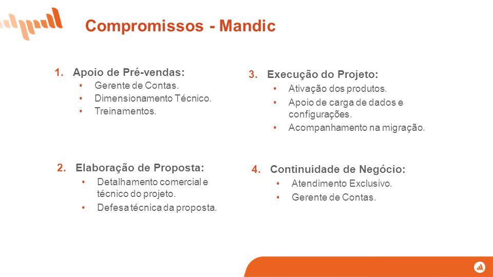 1.Apoio de Pré-vendas: Gerente de Contas. Dimensionamento Técnico. Treinamentos. 3.Execução do Projeto: Ativação dos produtos. Apoio de carga de dados