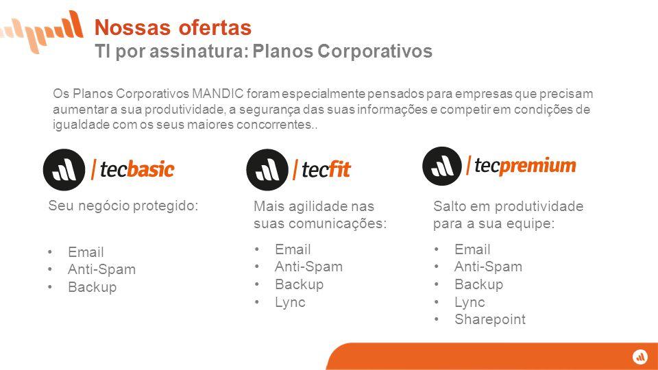 Nossas ofertas TI por assinatura: Planos Corporativos Seu negócio protegido: Mais agilidade nas suas comunicações: Salto em produtividade para a sua e