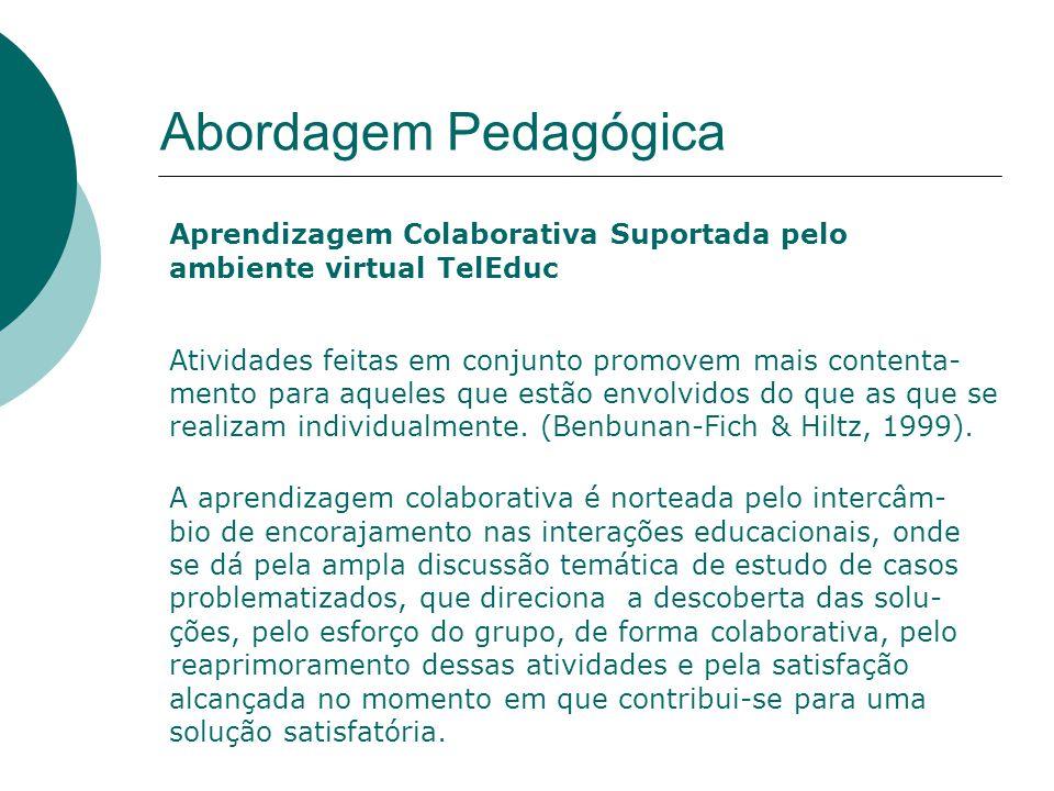 Abordagem Pedagógica Aprendizagem Colaborativa Suportada pelo ambiente virtual TelEduc Atividades feitas em conjunto promovem mais contenta- mento para aqueles que estão envolvidos do que as que se realizam individualmente.