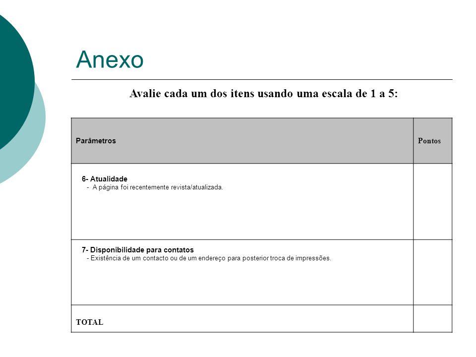 Anexo Avalie cada um dos itens usando uma escala de 1 a 5: Parâmetros Pontos 6- Atualidade - A página foi recentemente revista/atualizada.