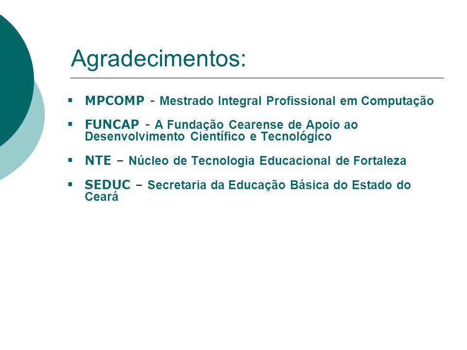 Agradecimentos:  MPCOMP - Mestrado Integral Profissional em Computação  FUNCAP - A Fundação Cearense de Apoio ao Desenvolvimento Científico e Tecnológico  NTE – Núcleo de Tecnologia Educacional de Fortaleza  SEDUC – Secretaria da Educação Básica do Estado do Ceará