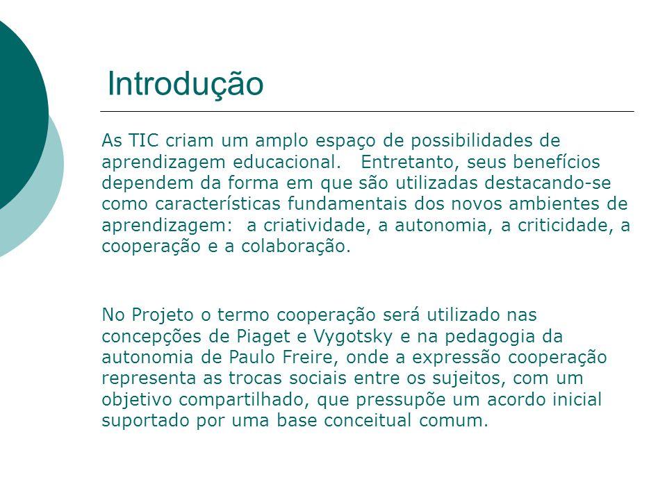 Introdução As TIC criam um amplo espaço de possibilidades de aprendizagem educacional.