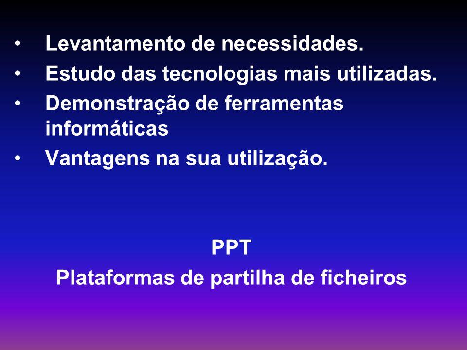 Levantamento de necessidades. Estudo das tecnologias mais utilizadas. Demonstração de ferramentas informáticas Vantagens na sua utilização. PPT Plataf