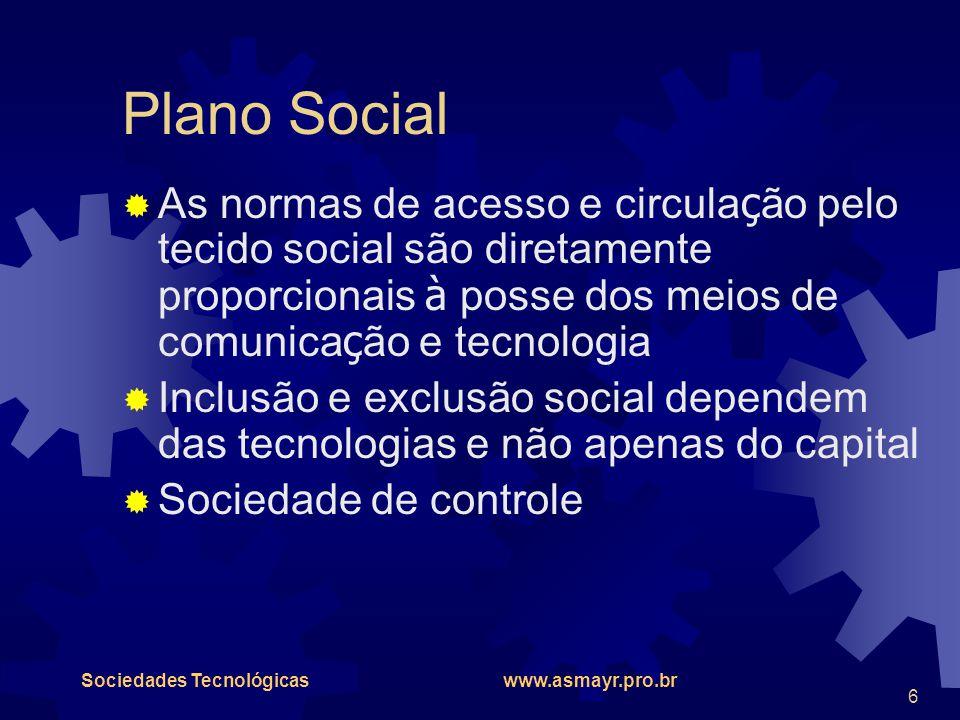 Sociedades Tecnológicas www.asmayr.pro.br 6 Plano Social  As normas de acesso e circula ç ão pelo tecido social são diretamente proporcionais à posse