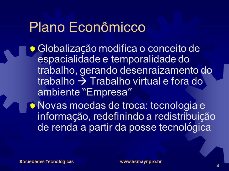 Sociedades Tecnológicas www.asmayr.pro.br 8 Plano Econômicco  Globaliza ç ão modifica o conceito de espacialidade e temporalidade do trabalho, gerand