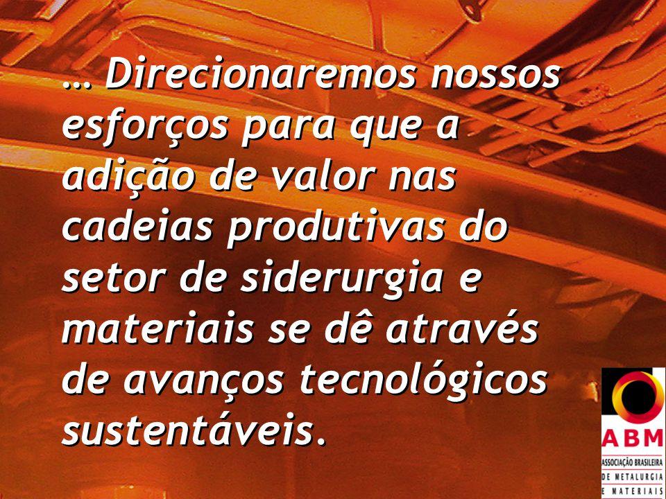 … Direcionaremos nossos esforços para que a adição de valor nas cadeias produtivas do setor de siderurgia e materiais se dê através de avanços tecnológicos sustentáveis.