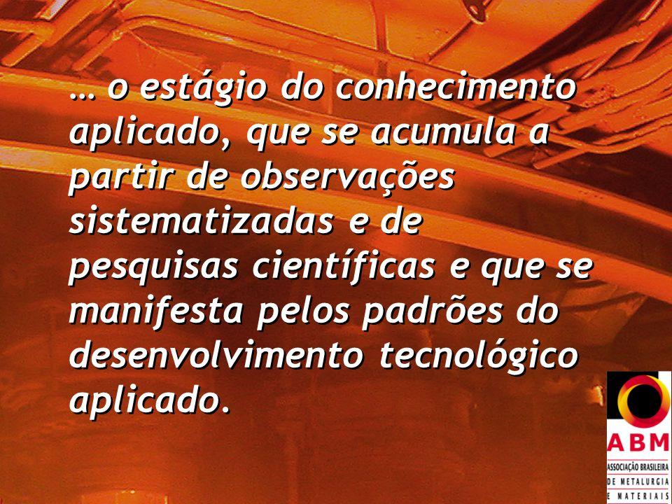 … o estágio do conhecimento aplicado, que se acumula a partir de observações sistematizadas e de pesquisas científicas e que se manifesta pelos padrões do desenvolvimento tecnológico aplicado.