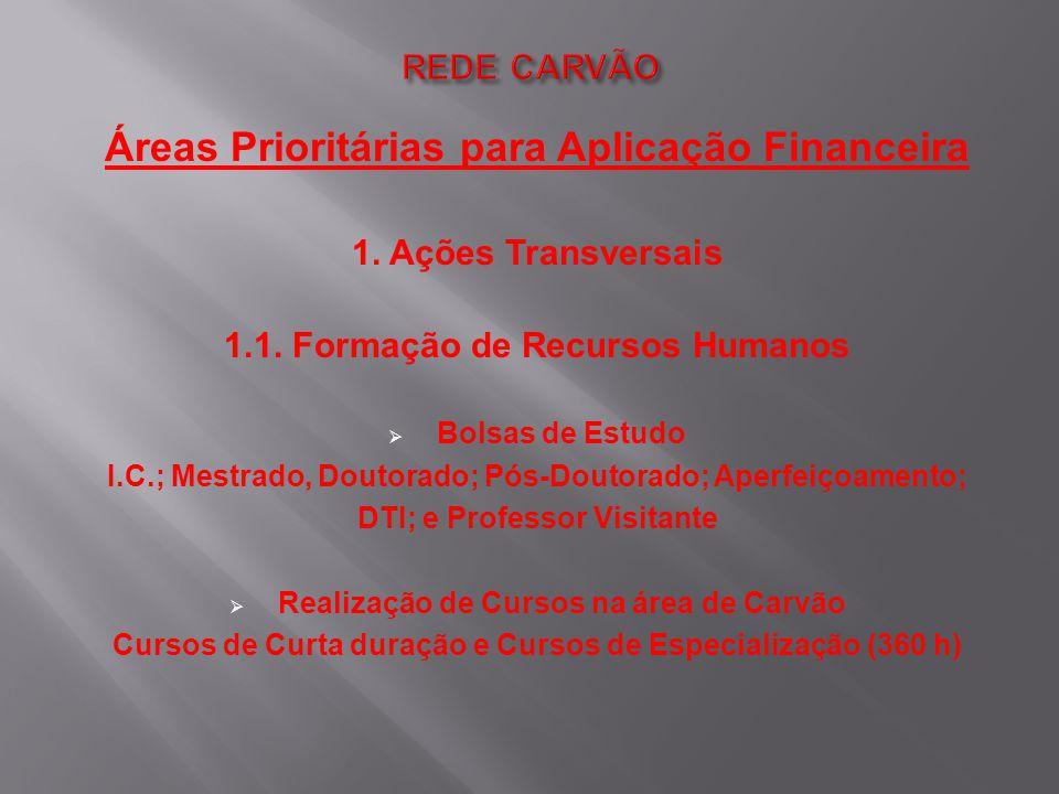 Áreas Prioritárias para Aplicação Financeira 1. Ações Transversais 1.1. Formação de Recursos Humanos  Bolsas de Estudo I.C.; Mestrado, Doutorado; Pós