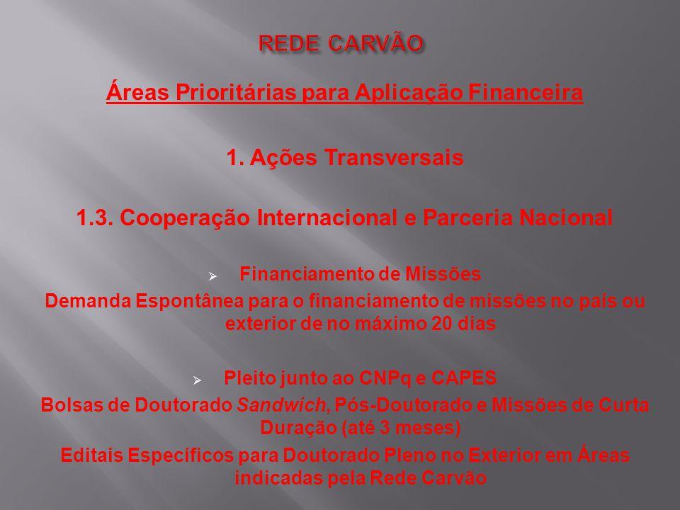Áreas Prioritárias para Aplicação Financeira 1. Ações Transversais 1.3. Cooperação Internacional e Parceria Nacional  Financiamento de Missões Demand