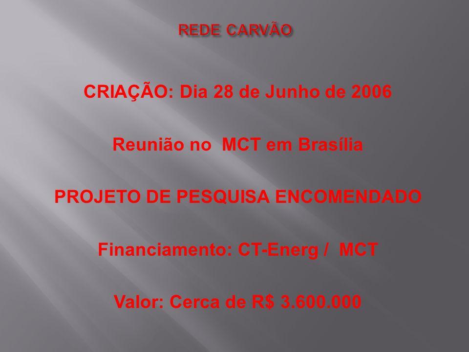 CRIAÇÃO: Dia 28 de Junho de 2006 Reunião no MCT em Brasília PROJETO DE PESQUISA ENCOMENDADO Financiamento: CT-Energ / MCT Valor: Cerca de R$ 3.600.000
