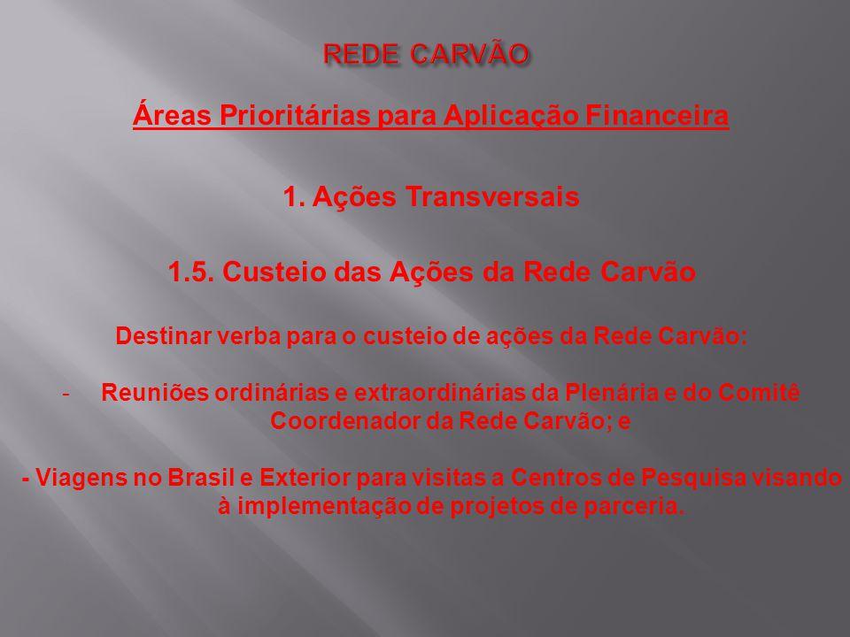 Áreas Prioritárias para Aplicação Financeira 1. Ações Transversais 1.5. Custeio das Ações da Rede Carvão Destinar verba para o custeio de ações da Red