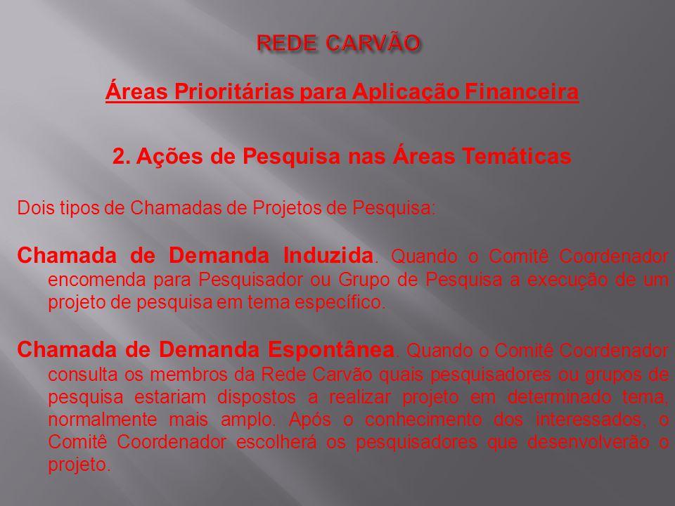 Áreas Prioritárias para Aplicação Financeira 2. Ações de Pesquisa nas Áreas Temáticas Dois tipos de Chamadas de Projetos de Pesquisa: Chamada de Deman