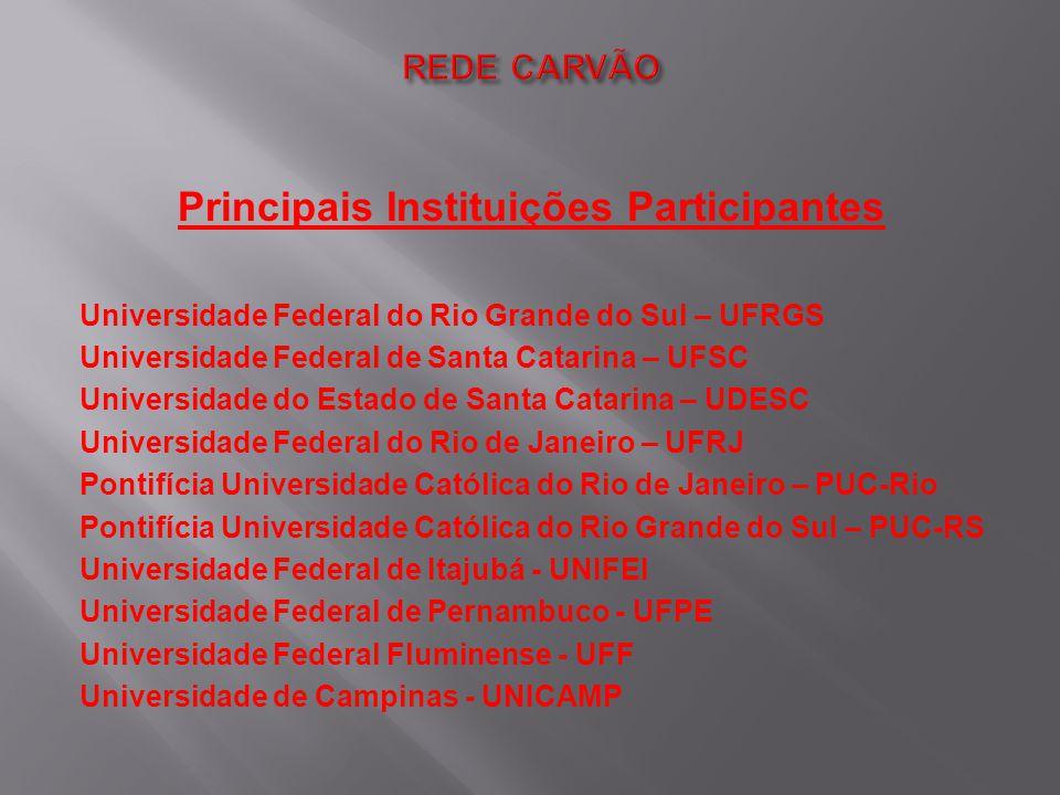 Principais Instituições Participantes Universidade Federal do Rio Grande do Sul – UFRGS Universidade Federal de Santa Catarina – UFSC Universidade do