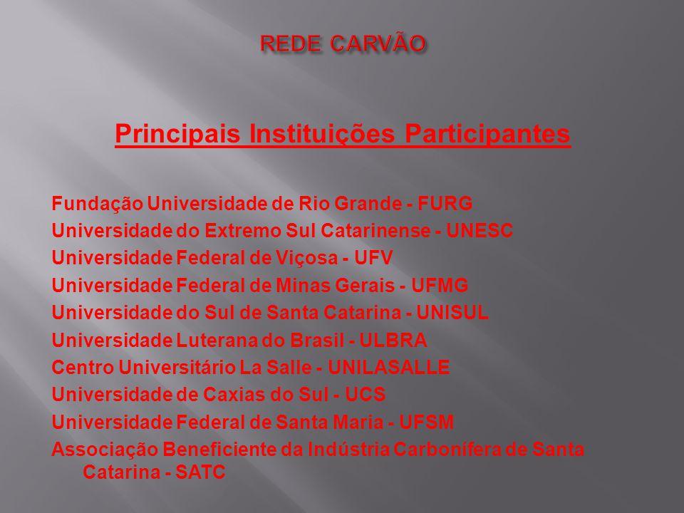 Principais Instituições Participantes Fundação Universidade de Rio Grande - FURG Universidade do Extremo Sul Catarinense - UNESC Universidade Federal