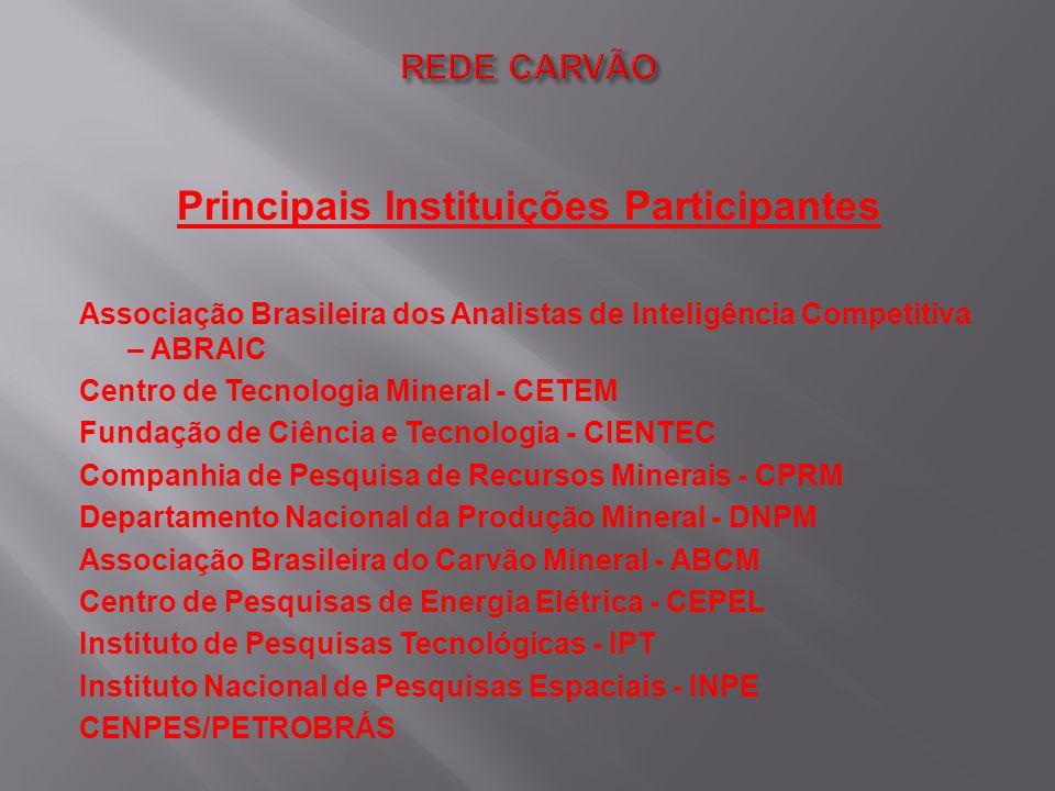 Principais Instituições Participantes Associação Brasileira dos Analistas de Inteligência Competitiva – ABRAIC Centro de Tecnologia Mineral - CETEM Fu