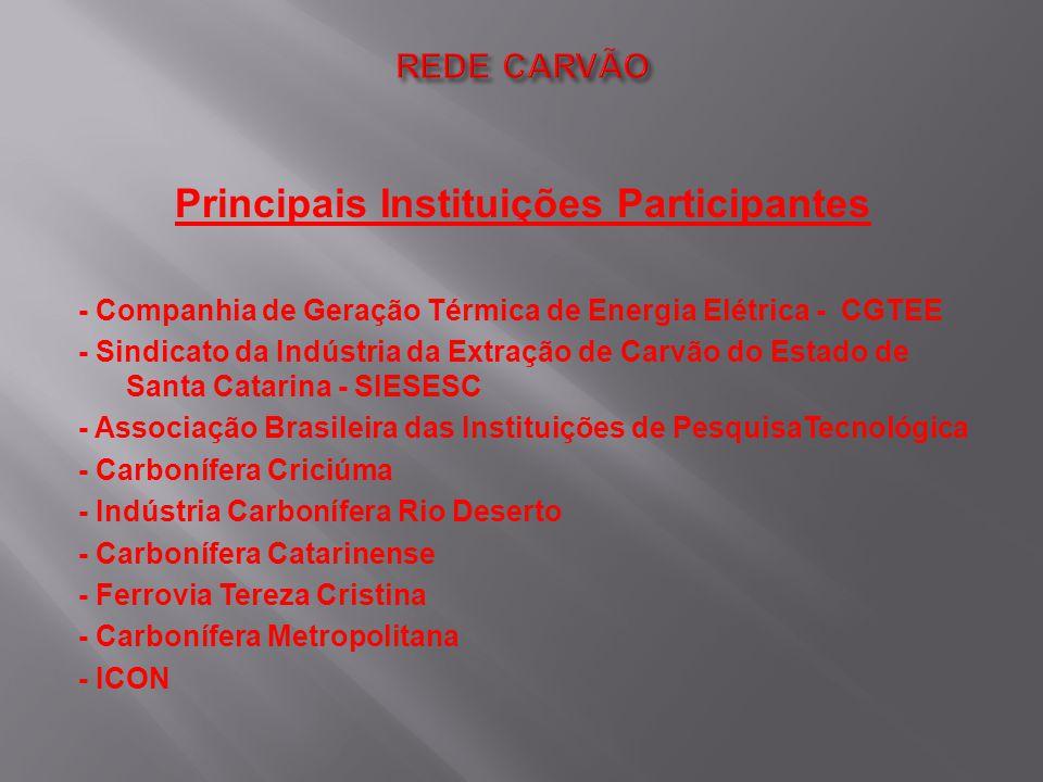 Principais Instituições Participantes - Companhia de Geração Térmica de Energia Elétrica - CGTEE - Sindicato da Indústria da Extração de Carvão do Est