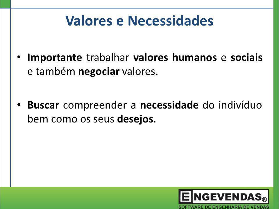 Importante trabalhar valores humanos e sociais e também negociar valores. Buscar compreender a necessidade do indivíduo bem como os seus desejos. Valo