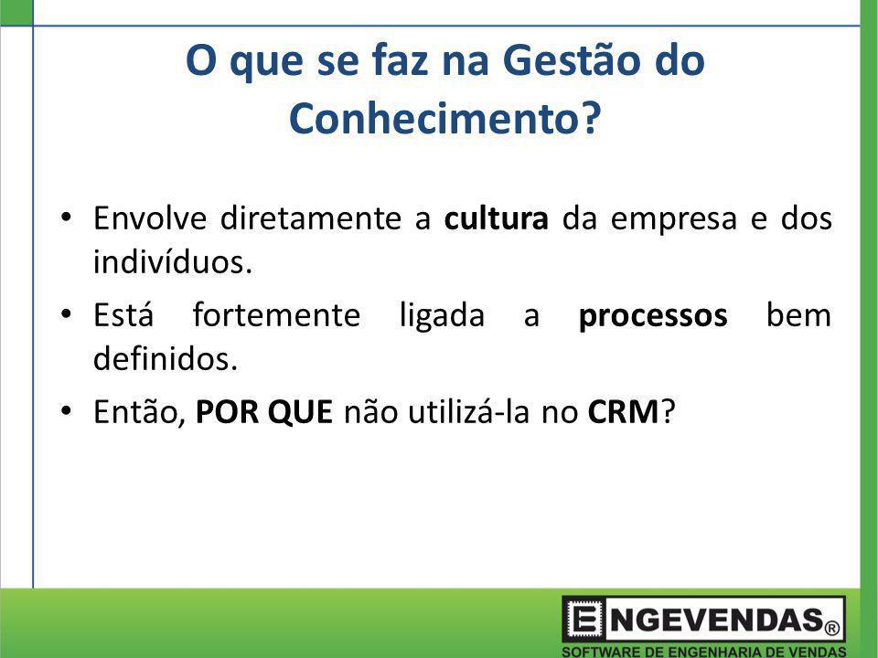 Envolve diretamente a cultura da empresa e dos indivíduos. Está fortemente ligada a processos bem definidos. Então, POR QUE não utilizá-la no CRM? O q
