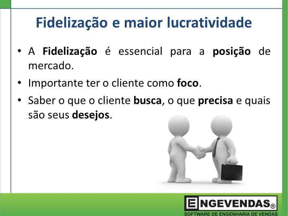A Fidelização é essencial para a posição de mercado. Importante ter o cliente como foco. Saber o que o cliente busca, o que precisa e quais são seus d