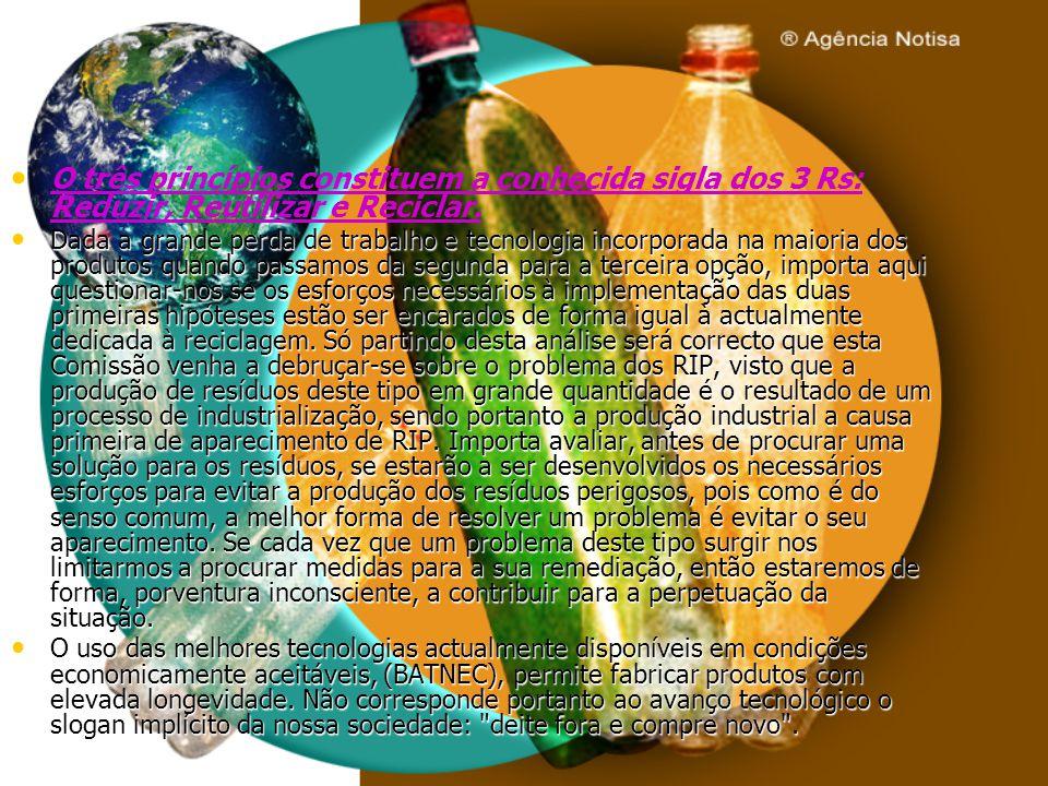 O três princípios constituem a conhecida sigla dos 3 Rs: Reduzir, Reutilizar e Reciclar. Dada a grande perda de trabalho e tecnologia incorporada na m