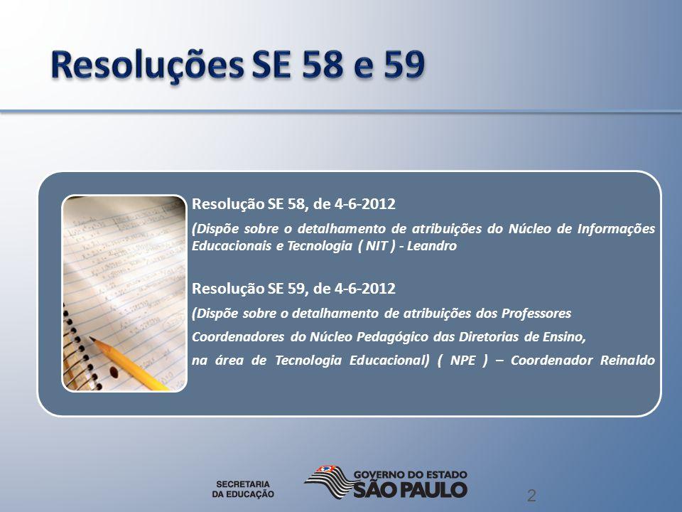 2 Resolução SE 58, de 4-6-2012 (Dispõe sobre o detalhamento de atribuições do Núcleo de Informações Educacionais e Tecnologia ( NIT ) - Leandro Resolu