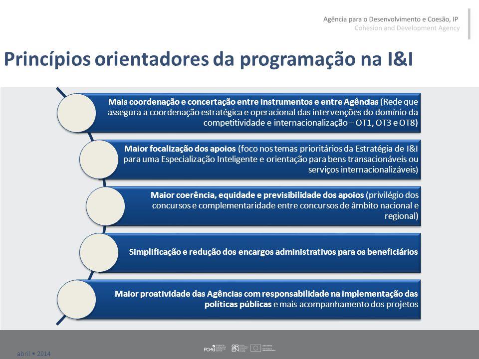 abril  2014 Princípios orientadores da programação na I&I Mais coordenação e concertação entre instrumentos e entre Agências (Rede que assegura a coo