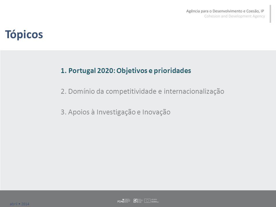 abril  2014 Tópicos 1. Portugal 2020: Objetivos e prioridades 2.