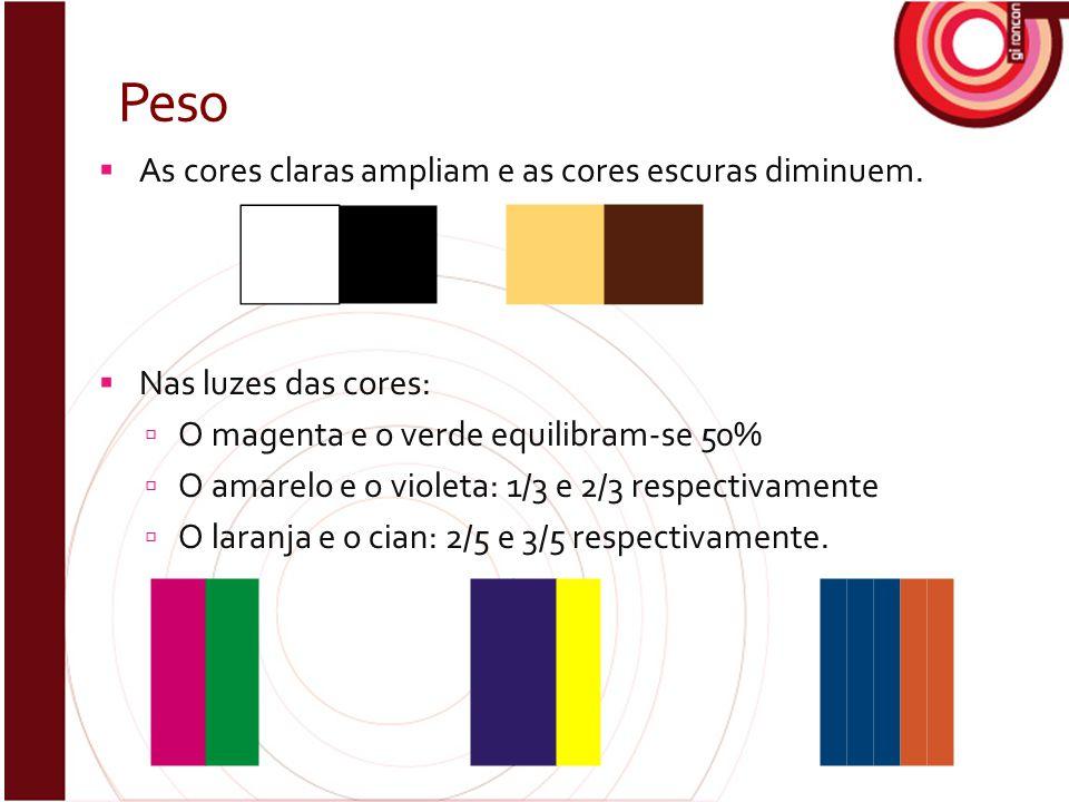 Peso  As cores claras ampliam e as cores escuras diminuem.  Nas luzes das cores:  O magenta e o verde equilibram-se 50%  O amarelo e o violeta: 1/