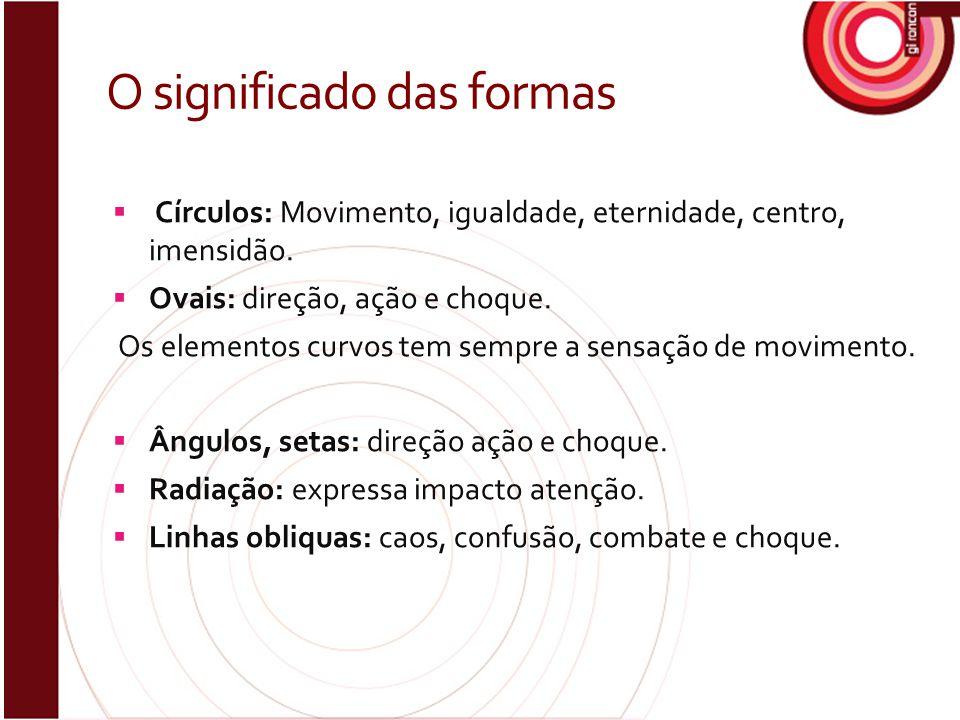 O significado das formas  Círculos: Movimento, igualdade, eternidade, centro, imensidão.  Ovais: direção, ação e choque. Os elementos curvos tem sem