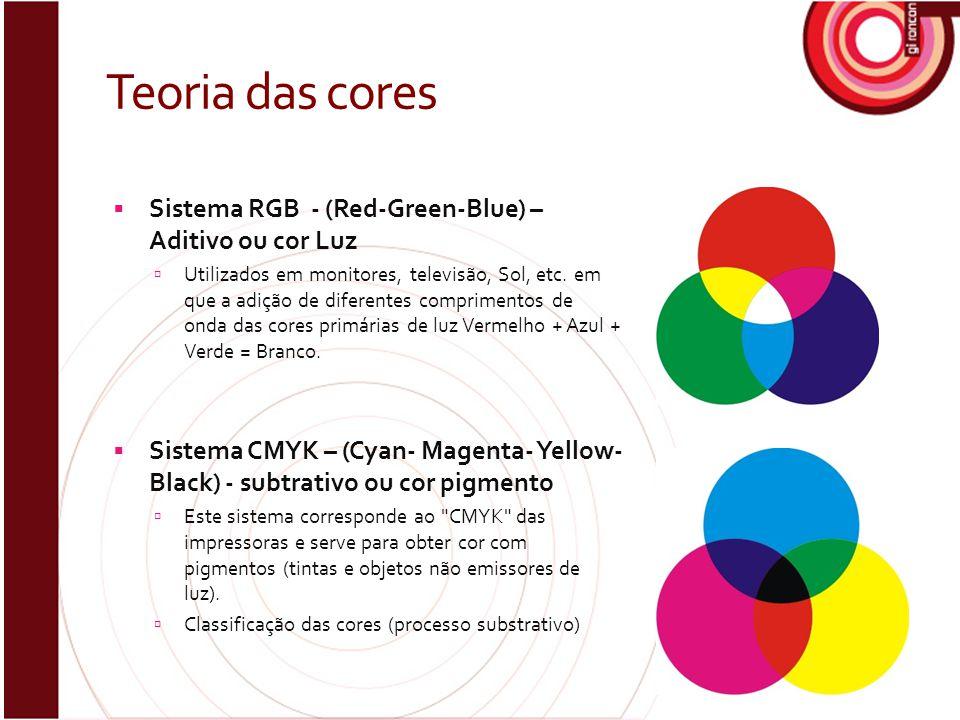 Teoria das cores  Sistema RGB - (Red-Green-Blue) – Aditivo ou cor Luz  Utilizados em monitores, televisão, Sol, etc. em que a adição de diferentes c