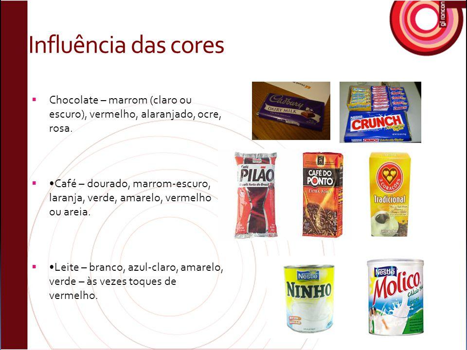 Influência das cores  Chocolate – marrom (claro ou escuro), vermelho, alaranjado, ocre, rosa.  Café – dourado, marrom-escuro, laranja, verde, amarel