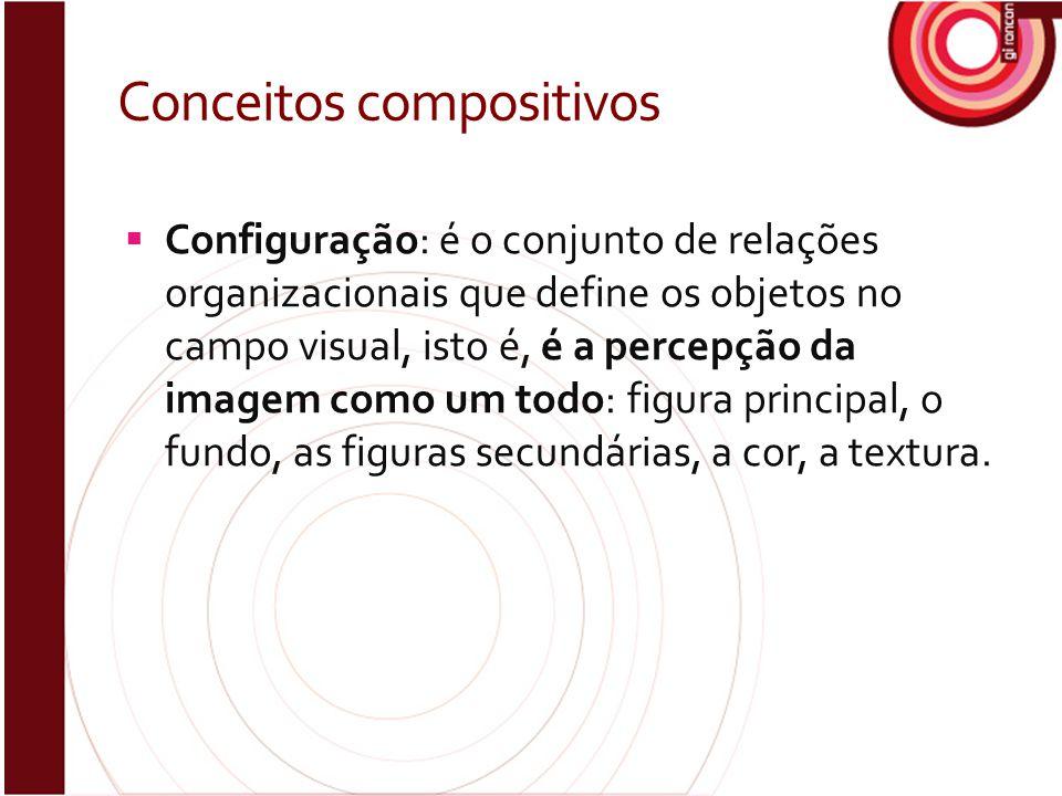 Conceitos compositivos  Configuração: é o conjunto de relações organizacionais que define os objetos no campo visual, isto é, é a percepção da imagem