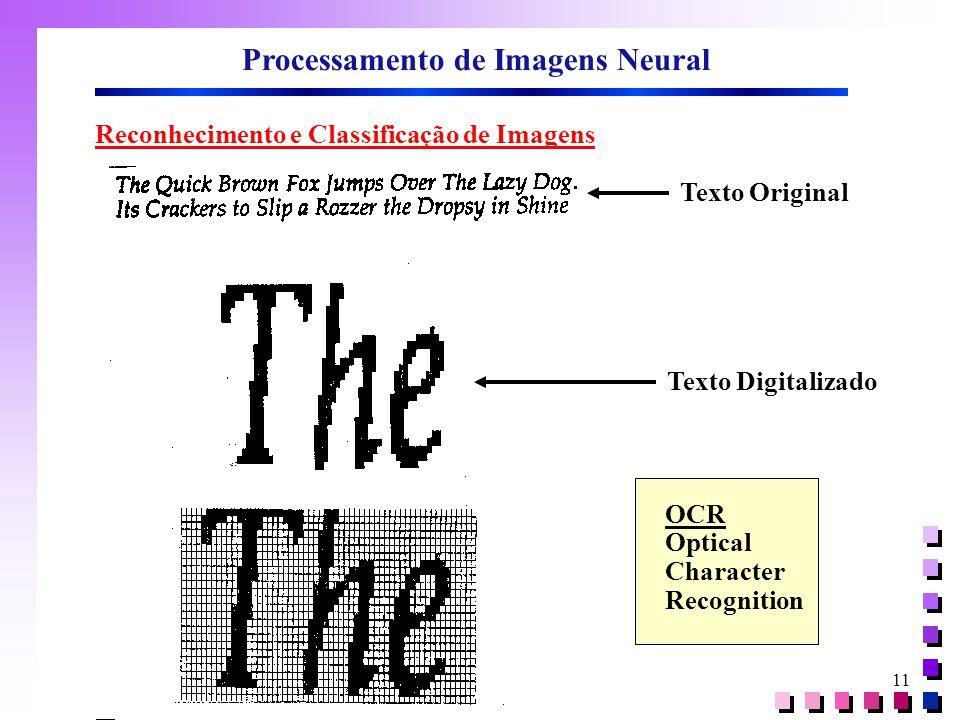 11 Processamento de Imagens Neural Reconhecimento e Classificação de Imagens Texto Original Texto Digitalizado OCR Optical Character Recognition