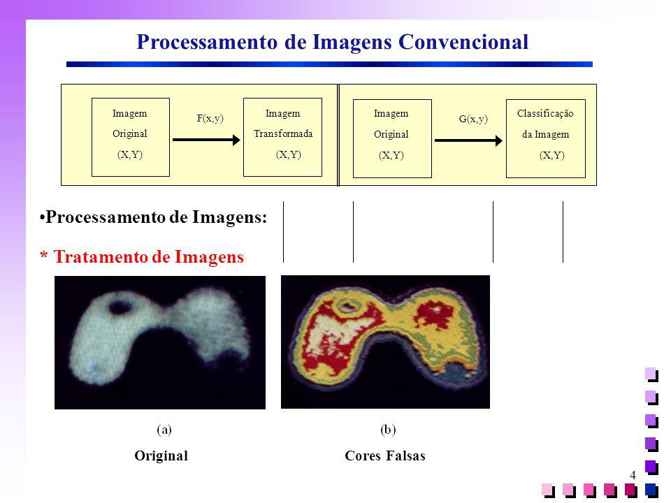4 Imagem Original (X,Y) Imagem Transformada (X,Y) F(x,y) Imagem Original (X,Y) Classificação da Imagem (X,Y) G(x,y) Processamento de Imagens Convencional Processamento de Imagens: * Tratamento de Imagens Original Cores Falsas