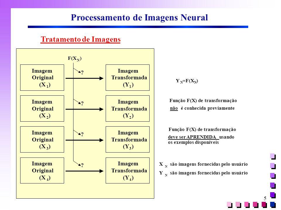5 Processamento de Imagens Neural Y N =F(X N ) Função F(X) de transformação não é conhecida previamente X N são imagens fornecidas pelo usuário Y N F(X N ) Imagem Original (X 1 ) Imagem Transformada (Y 1 ) .