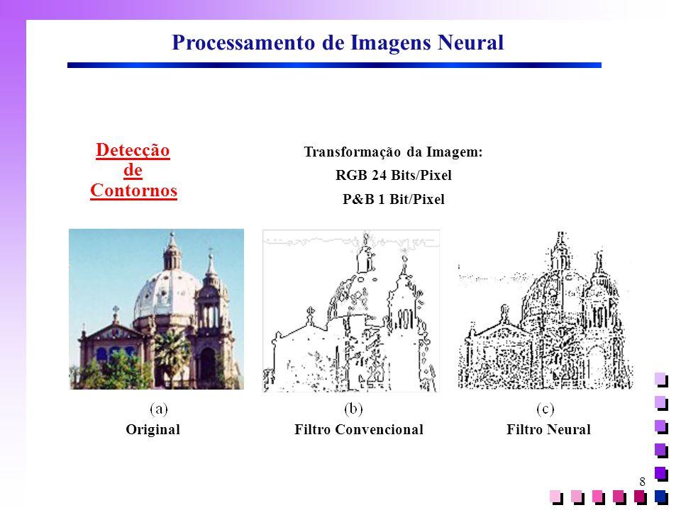 8 Processamento de Imagens Neural Detecção de Contornos Original Filtro Convencional Filtro Neural Transformação da Imagem: RGB 24 Bits/Pixel P&B 1 Bit/Pixel