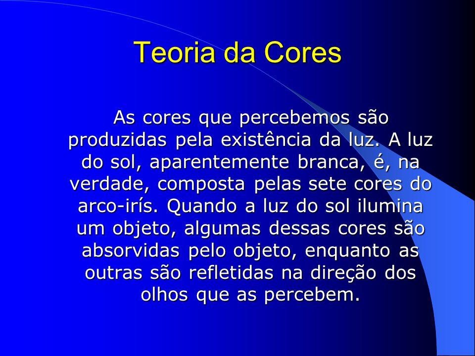 Teoria da Cores As cores que percebemos são produzidas pela existência da luz.