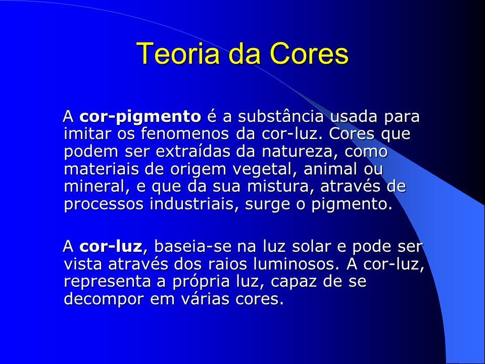 Teoria da Cores A cor-pigmento é a substância usada para imitar os fenomenos da cor-luz.