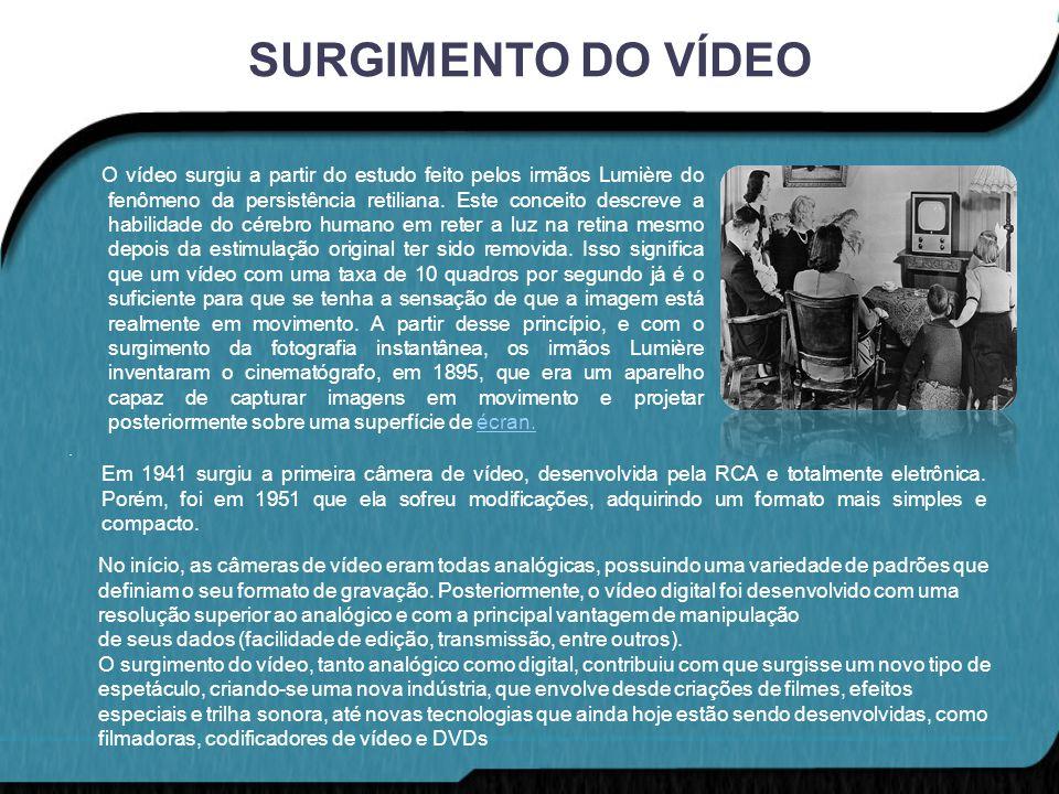 SURGIMENTO DO VÍDEO O vídeo surgiu a partir do estudo feito pelos irmãos Lumière do fenômeno da persistência retiliana. Este conceito descreve a habil