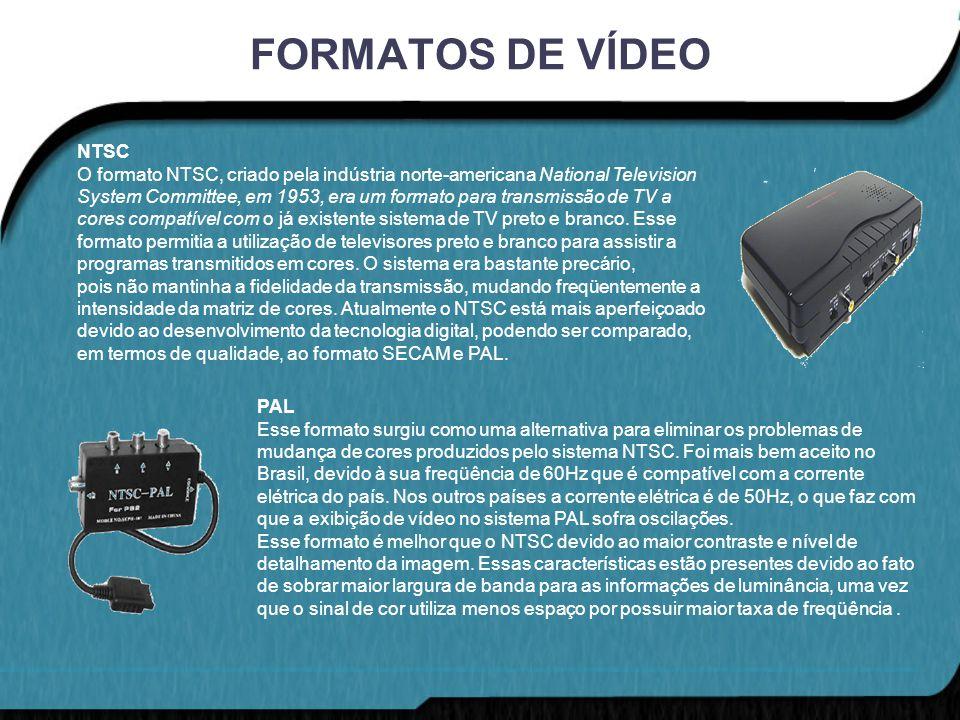 FORMATOS DE VÍDEO NTSC O formato NTSC, criado pela indústria norte-americana National Television System Committee, em 1953, era um formato para transm