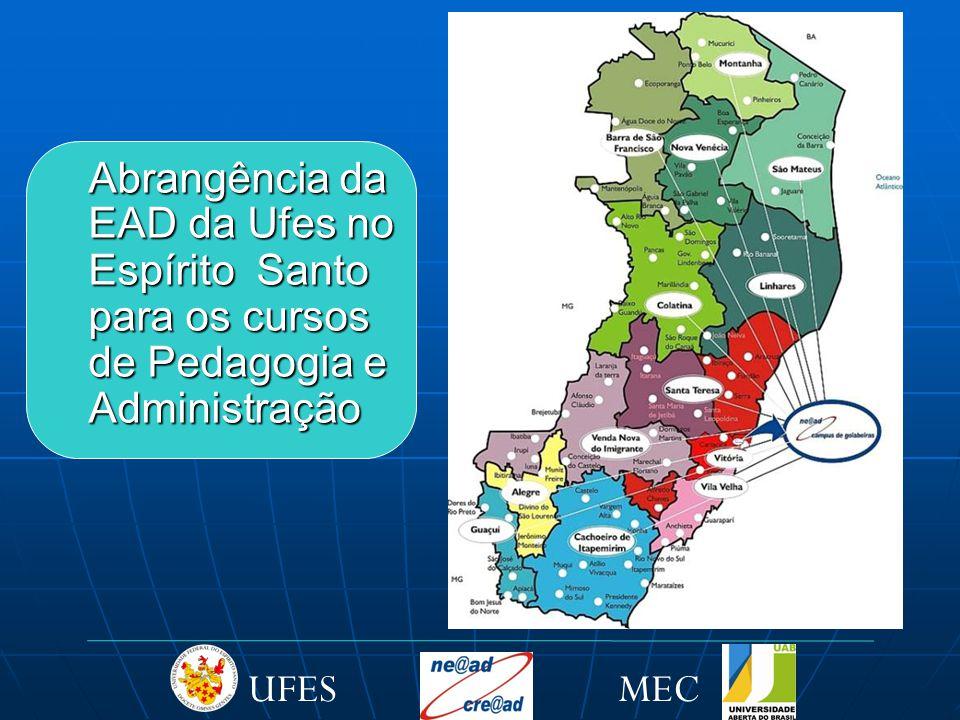 Abrangência da EAD da Ufes no Espírito Santo para os cursos de Pedagogia e Administração MECUFES