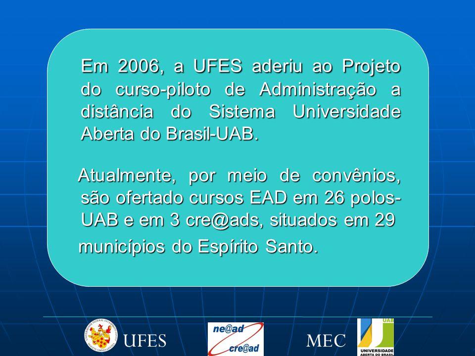 Em 2006, a UFES aderiu ao Projeto do curso-piloto de Administração a distância do Sistema Universidade Aberta do Brasil-UAB.