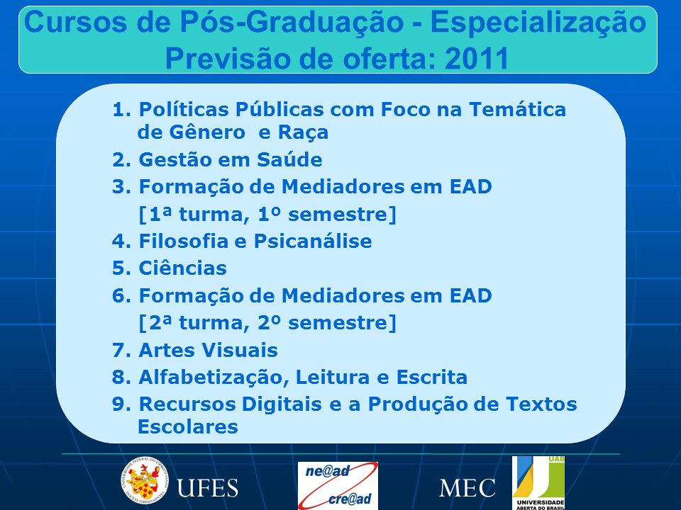 Cursos de Pós-Graduação - Especialização Previsão de oferta: 2011 1.
