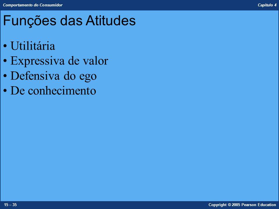 Comportamento do Consumidor Capítulo 4 15 – 35Copyright © 2005 Pearson Education Funções das Atitudes Utilitária Expressiva de valor Defensiva do ego