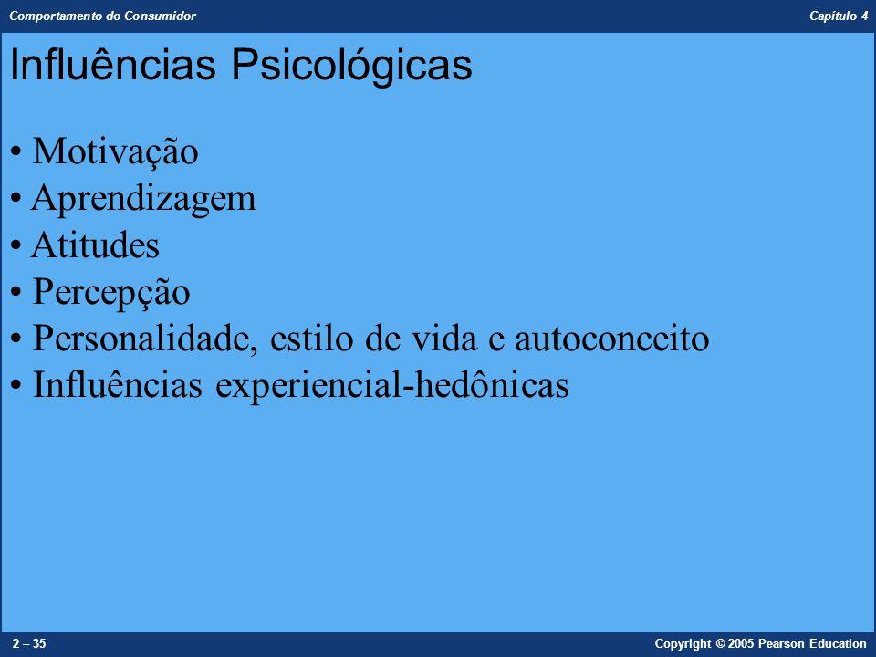 Comportamento do Consumidor Capítulo 4 2 – 35Copyright © 2005 Pearson Education Influências Psicológicas Motivação Aprendizagem Atitudes Percepção Per